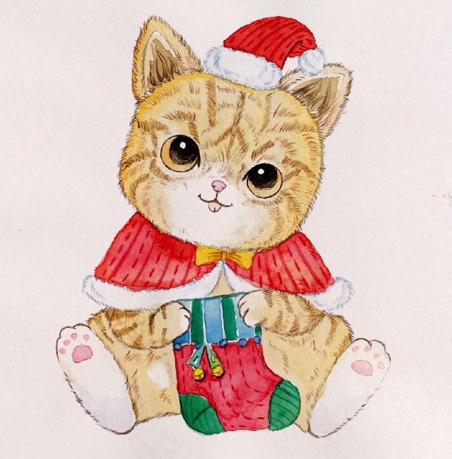 圣诞节的小猫水彩小教程